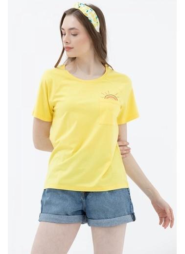 Sementa Cebi Nakış Detaylı Tshirt - Sarı Sarı